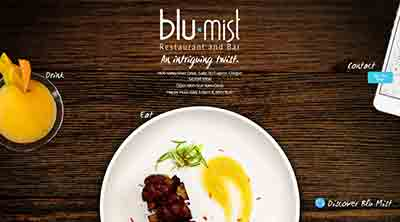 Image of the home page for Blu Mist Restaurant and Bar