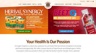 Image of the home page for Energize Organics